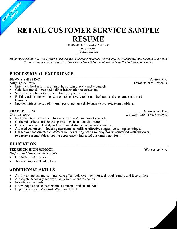 Retail Customer Service Resume Sample Free Samples