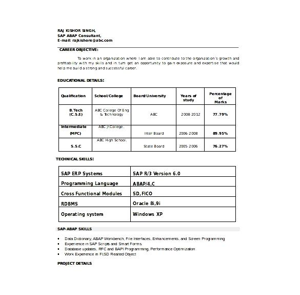 sap consultant resume template word format free download