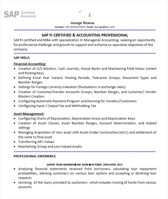 Sap erp resume sample