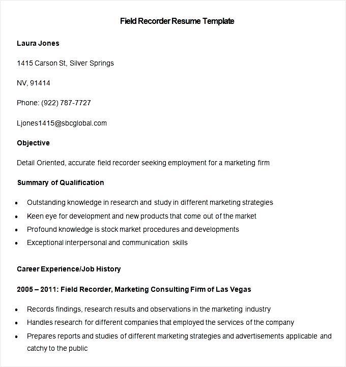 sampel field recorder resume template