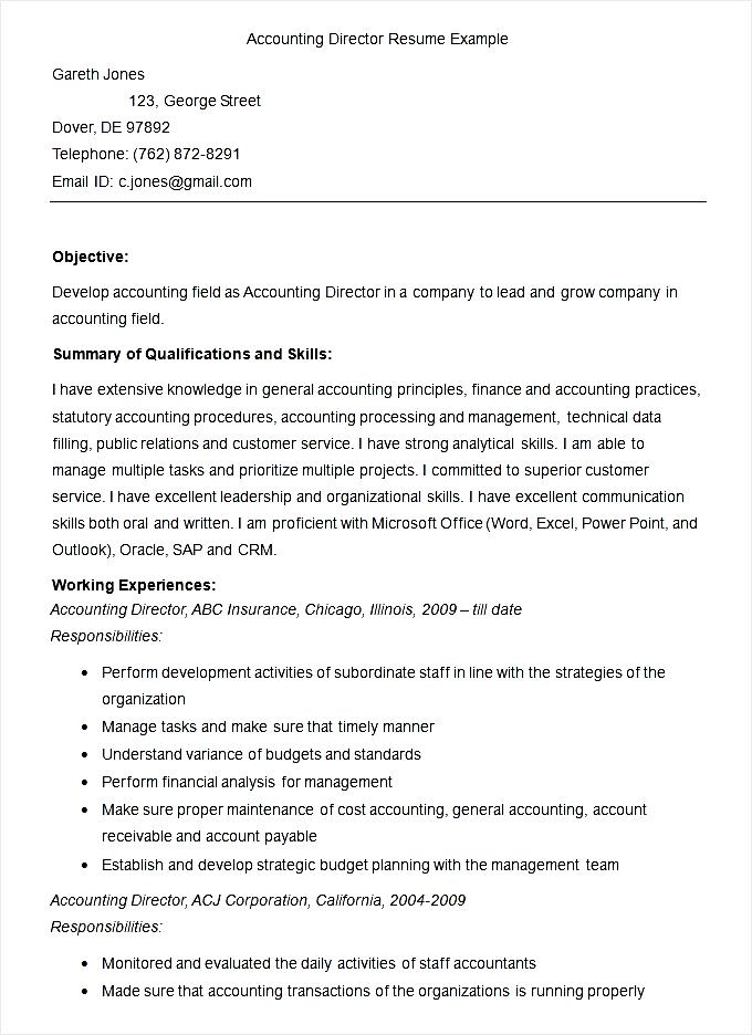 sample accounting director resume template