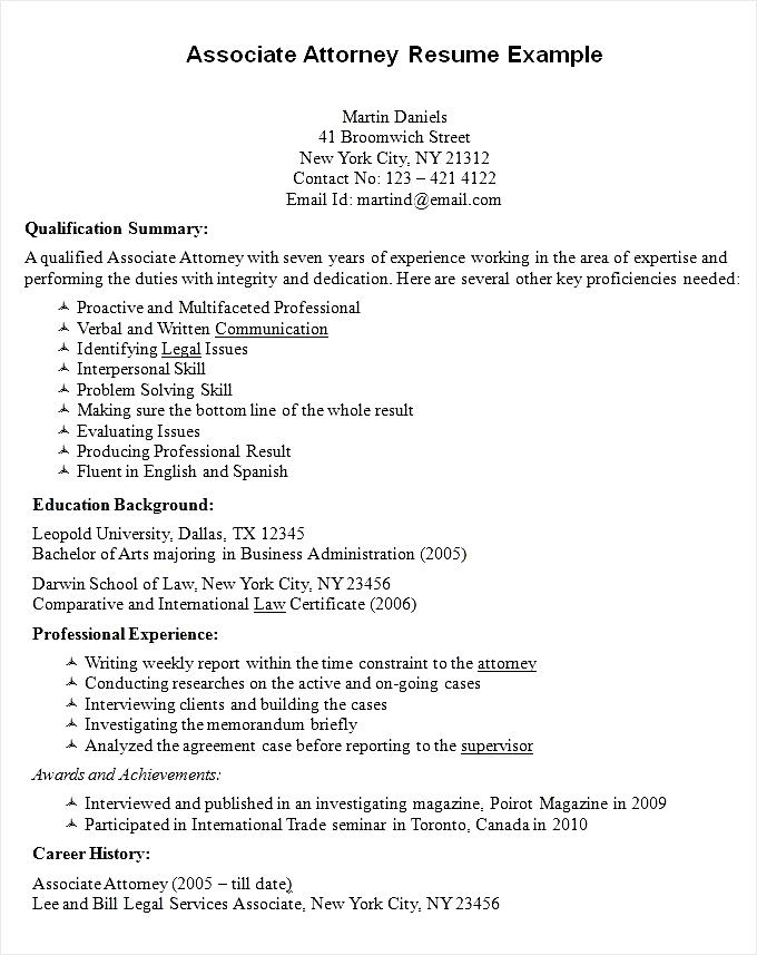 Sample Resume For Attorney