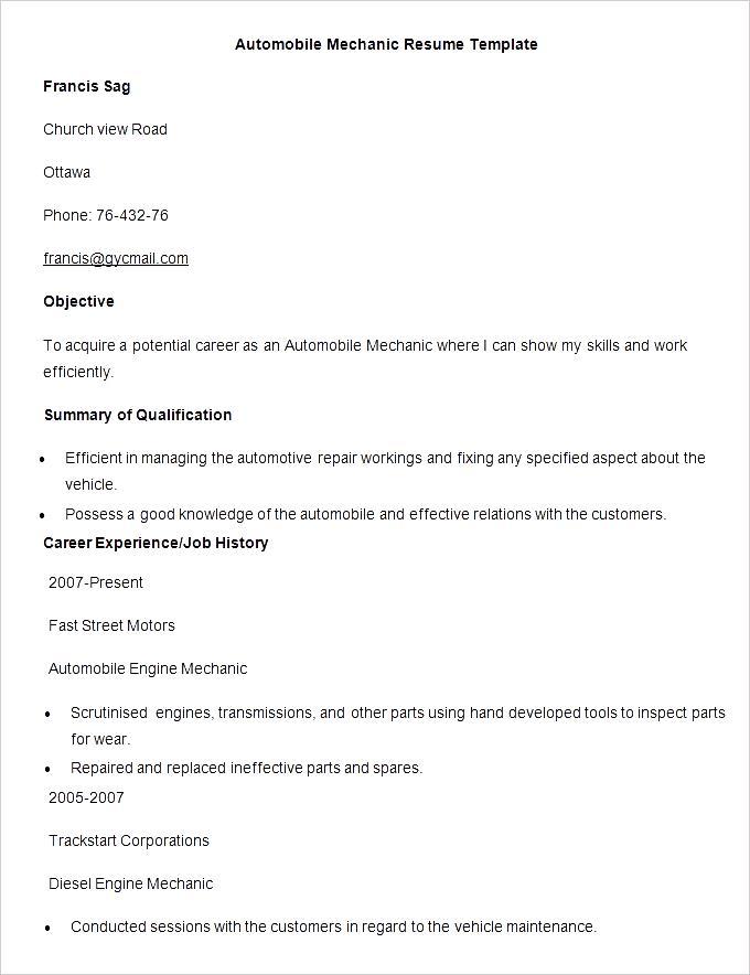 sample automobile mechanic resume template