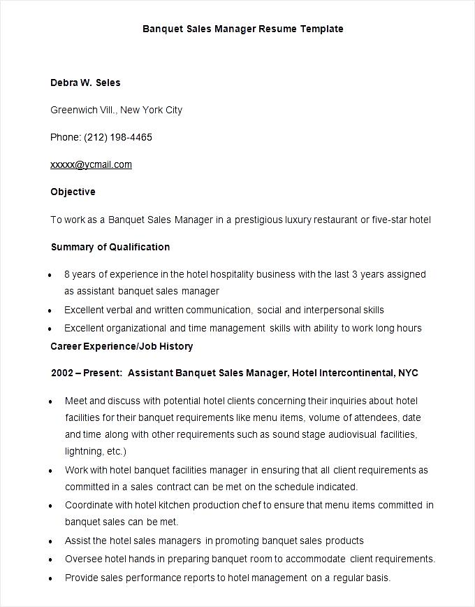 Sample Banquet Sales Manager Resume Template Download  Hotel Sales Manager Resume