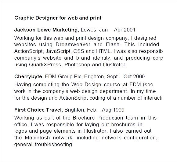 graphic design cv examples pdf