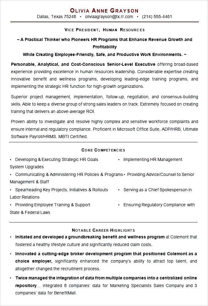 sample executive resume template for hr vp