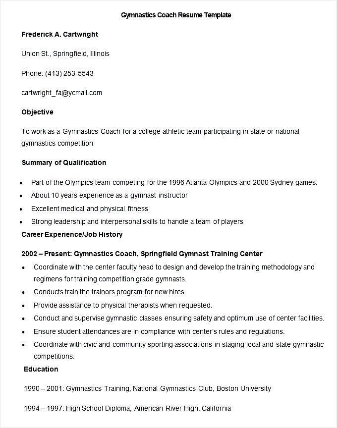 sample gymnastics coach resume template