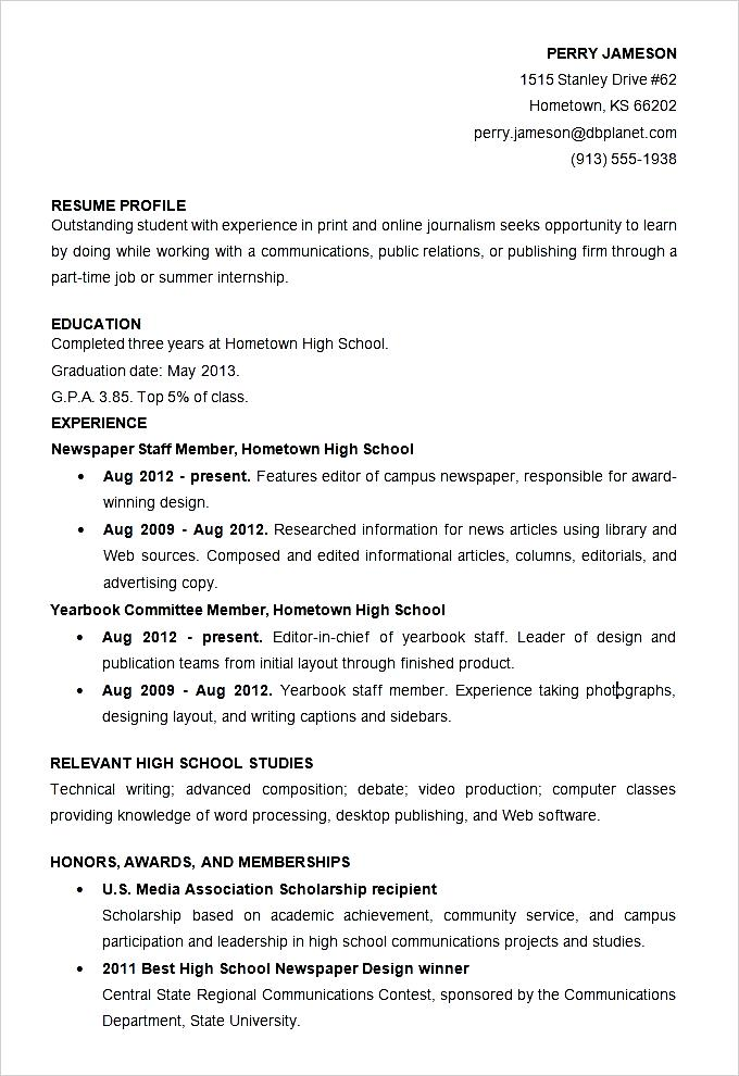 sample high school student resume template  free samples