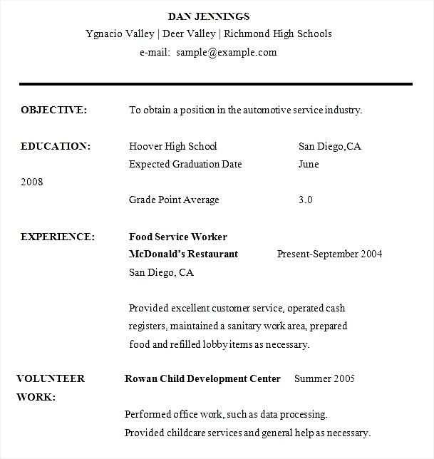 Example Of A High School Student Resume  Template