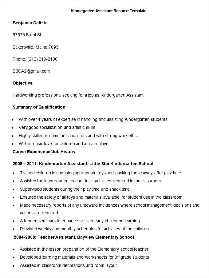 sample kindergarten assistant resume template  free