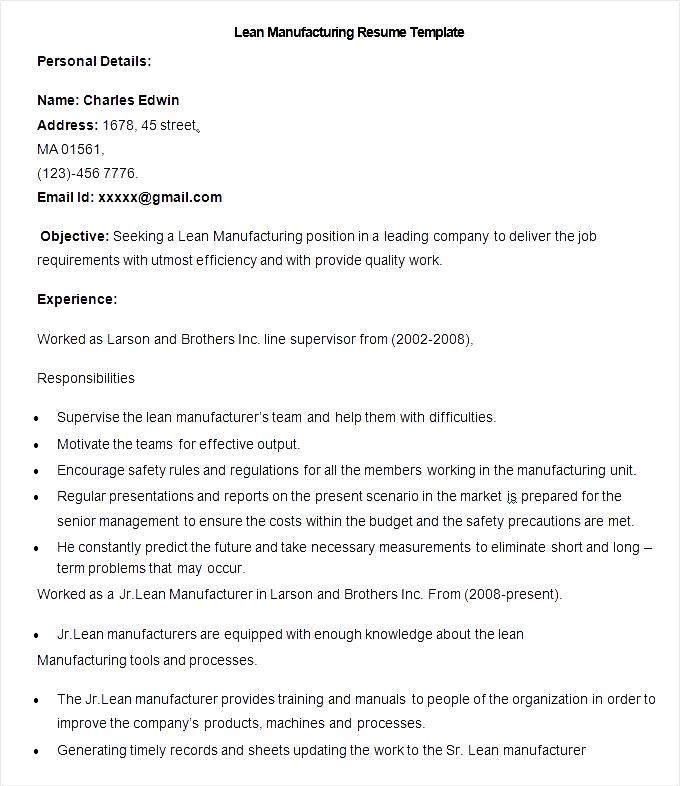 Sample Lean Manufacturing Resume Template Free Samples