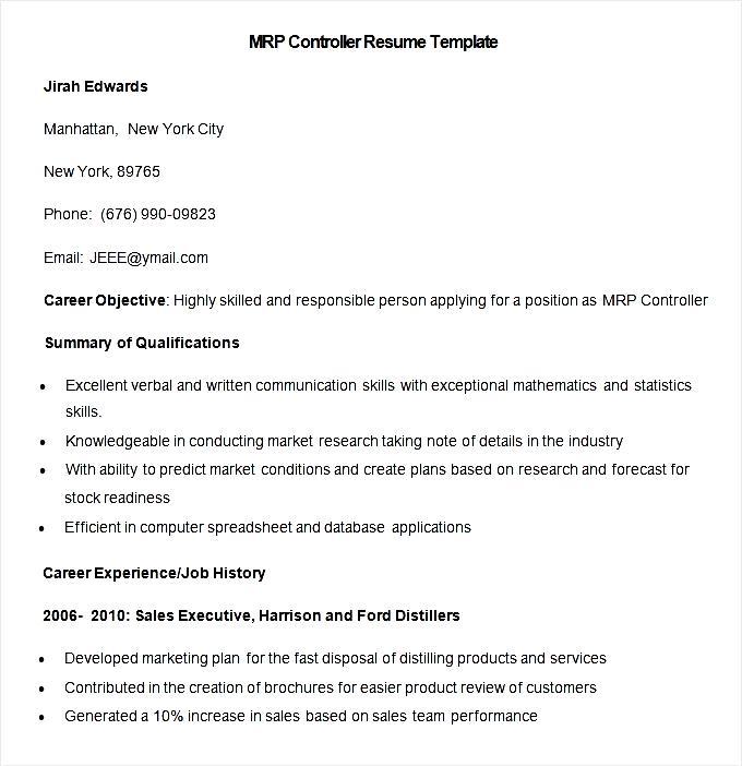 sample mrp controller resume template