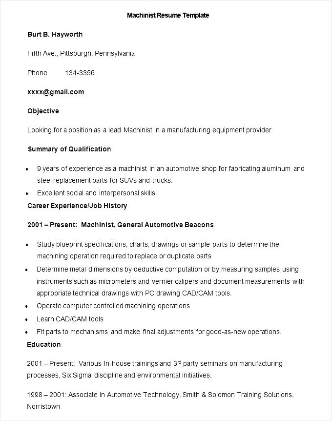 Sample Machinist Resume Template Free Samples Examples