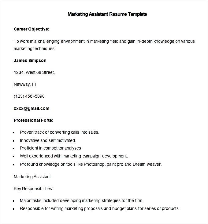 sle marketing assistant resume template free sles