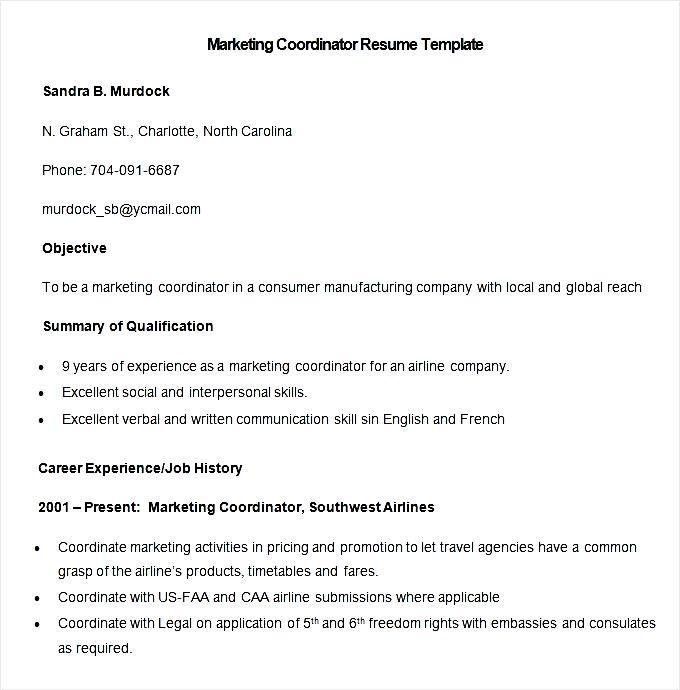 Resume sample marketing coordinator