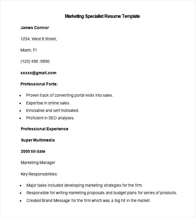 Sample Marketing Specialist Resume Template