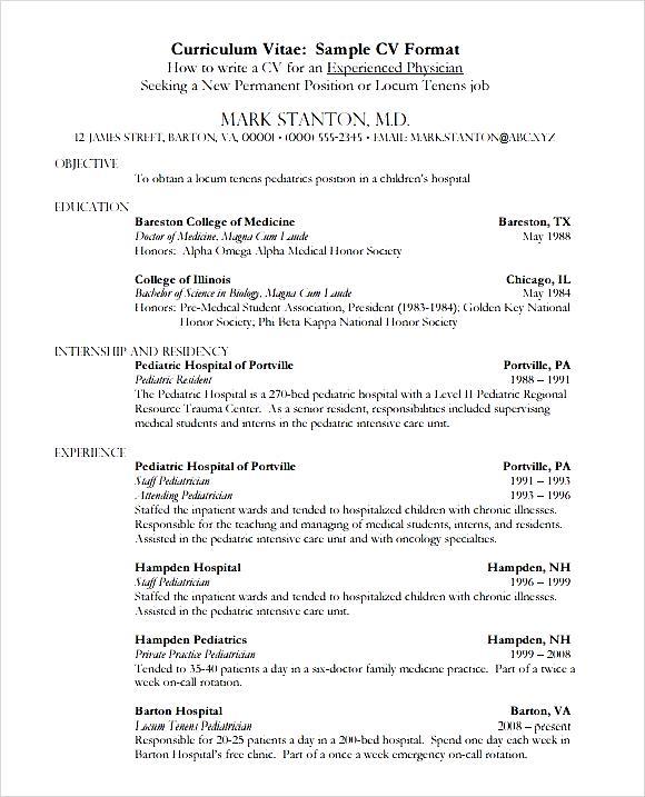 Sample Medical CV Template