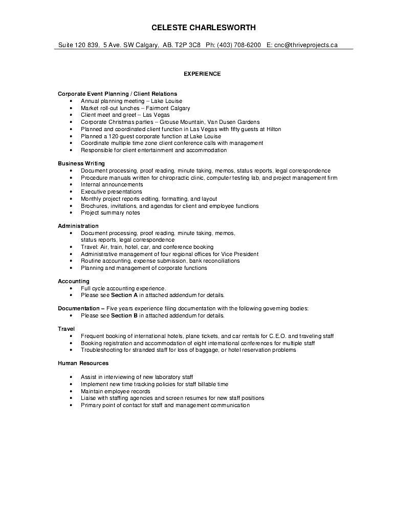 sample of comprehensive resume