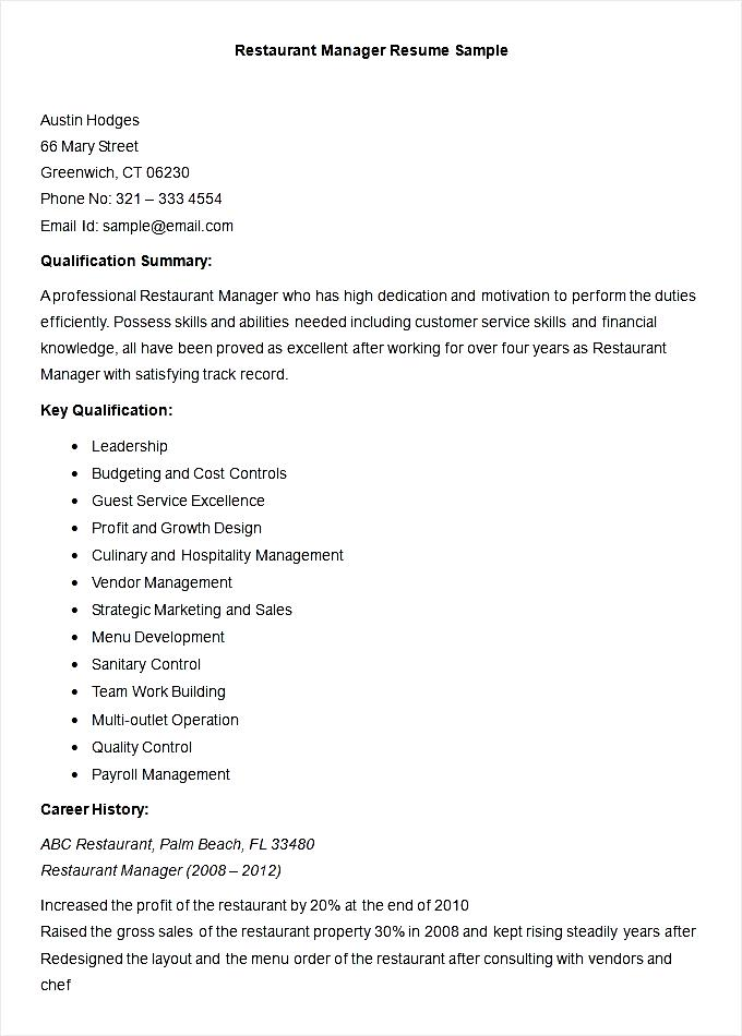 Sample Restaurant Manager Resume Template Free Samples