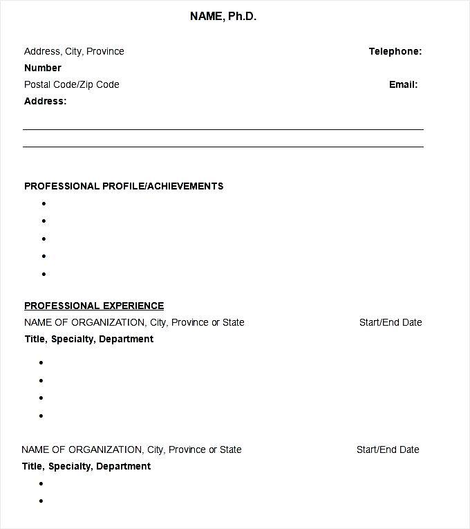 Sample Resume Ph.D CV Template