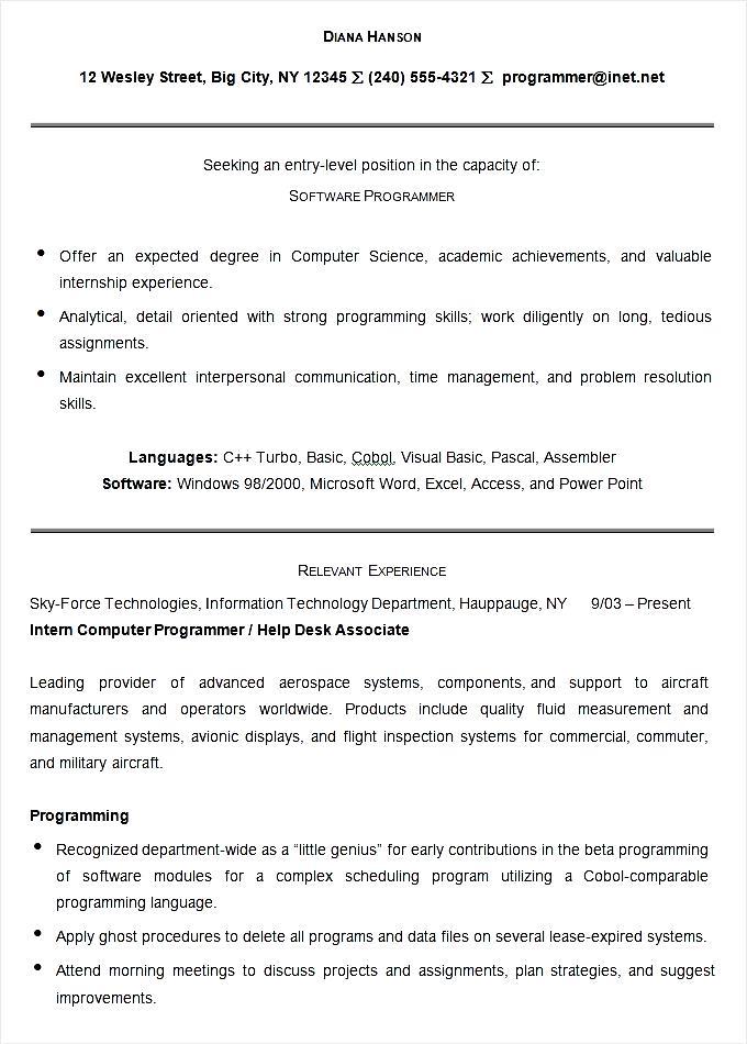 sample software programmer resume template