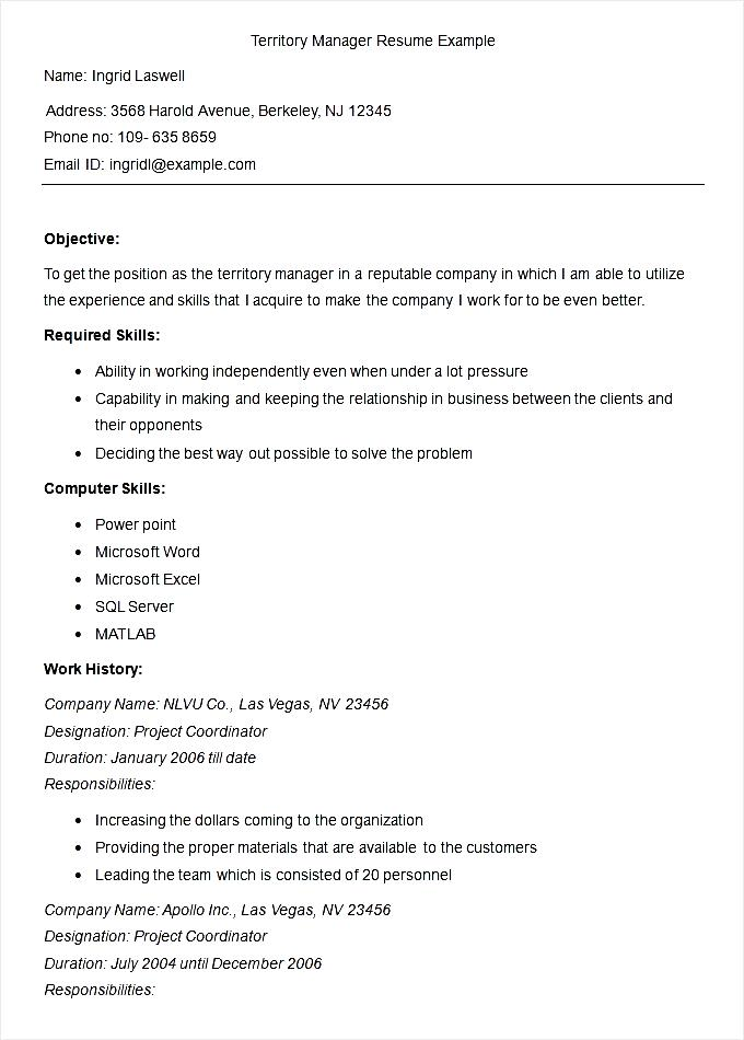 sample territory manager resume example   free samples   examples    sample territory manager resume example