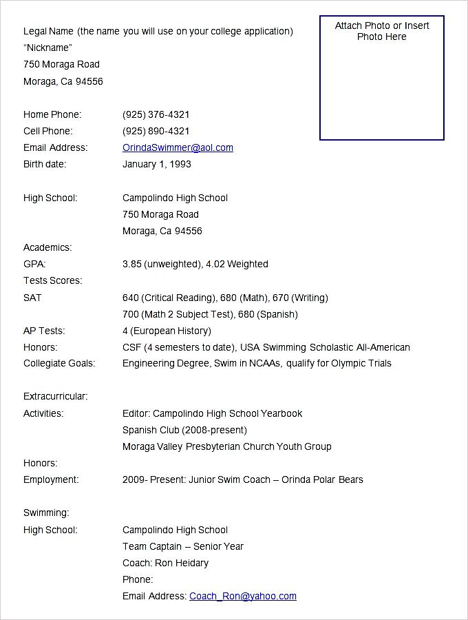 sports resume format template
