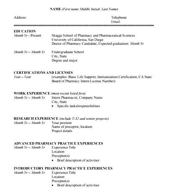 student cv template pdf