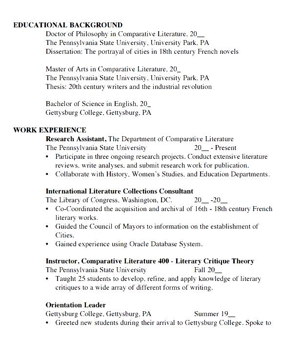 student cv template word