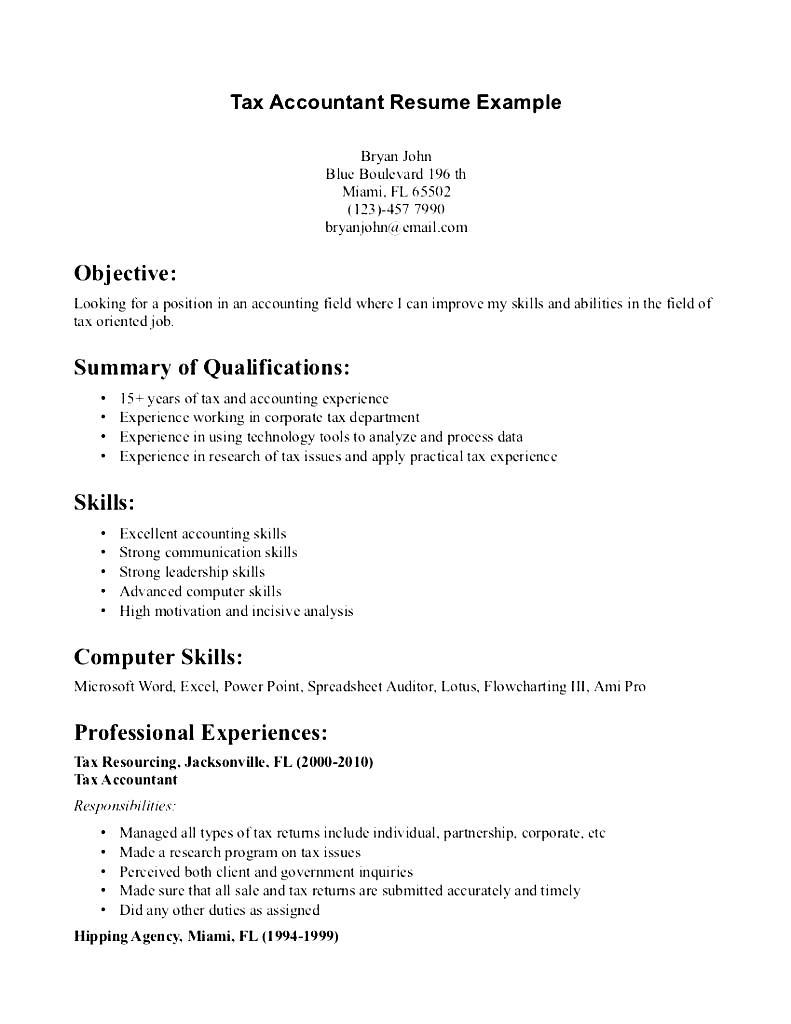 tax accountant resume example