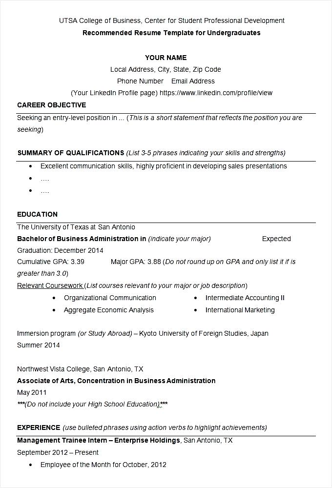 Utsa College Of Business Resume Example Template Free