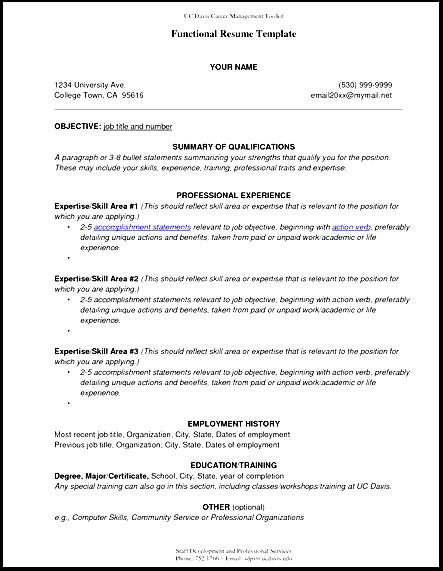 view sample functional resume