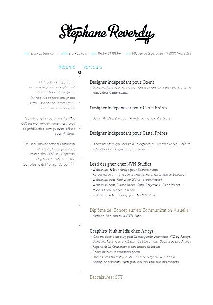 visual designer resume sample