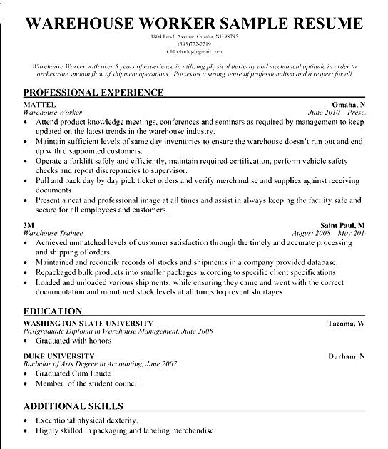 Warehouse Resume Skills Sample Free Samples Examples