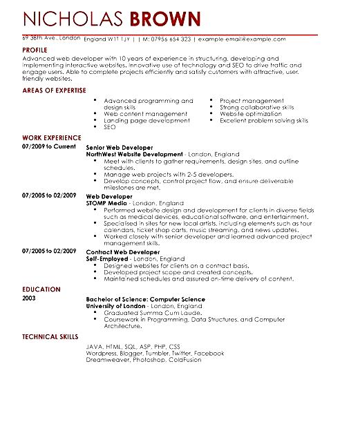 php web developer resume