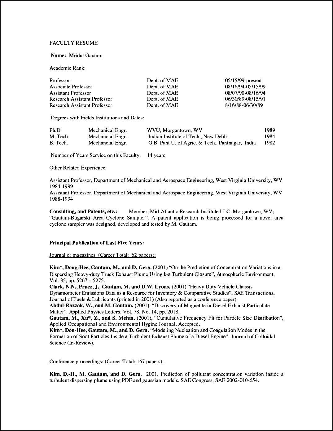 Curriculum Vitae Format For Professor Free Samples