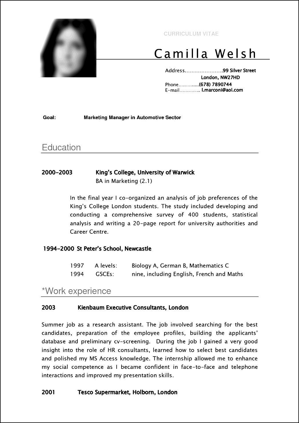 inspirational resume cv format curriculum vitae format for students