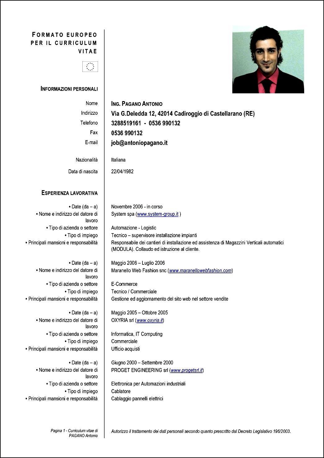 Formato Curriculum Vitae 2016 Newhairstylesformen2014 Com