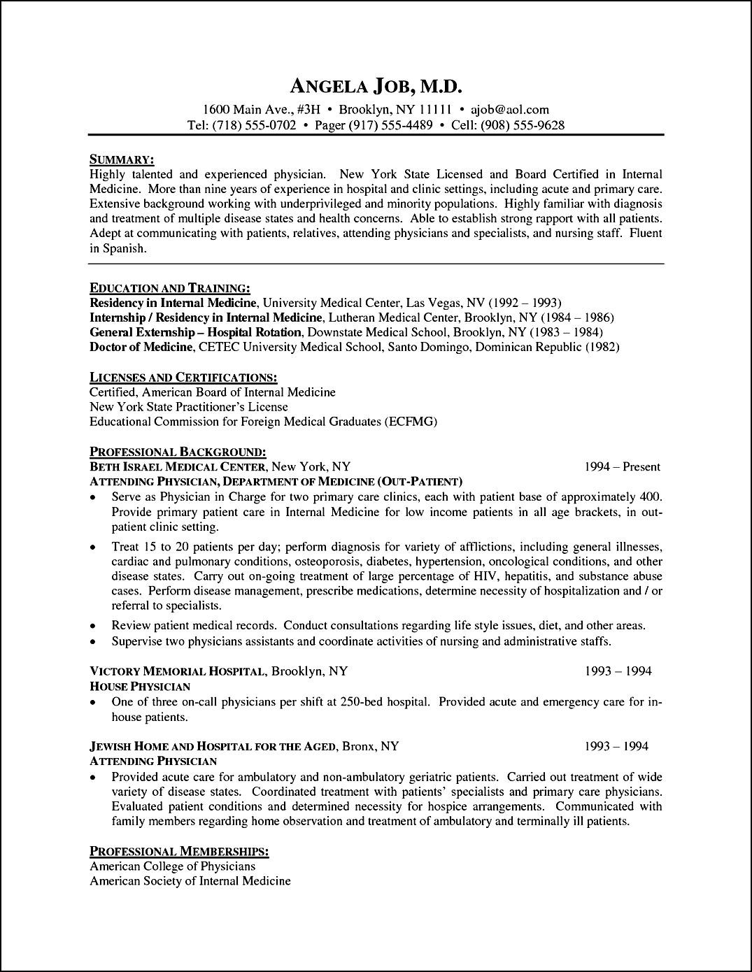 curriculum vitae template for physicians  free samples