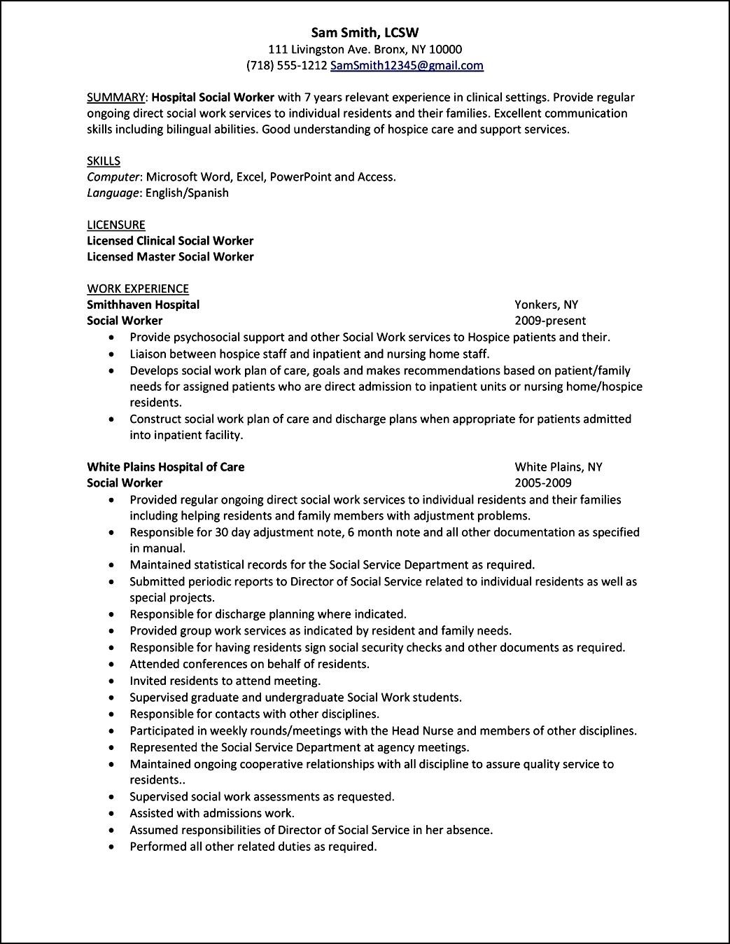 curriculum vitae template for social workers