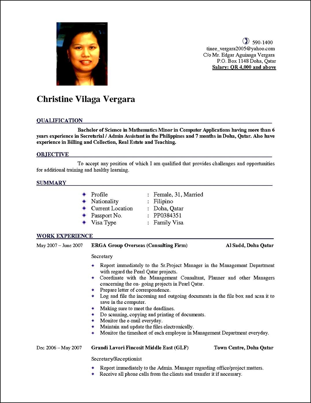 New Curriculum Vitae Format Free Samples Examples