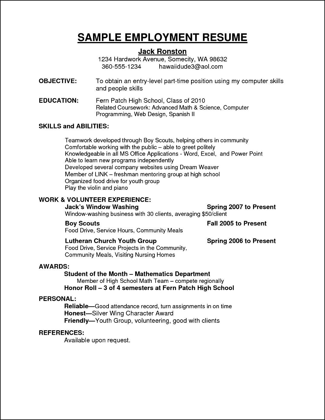 Resume Example For First Job In High School