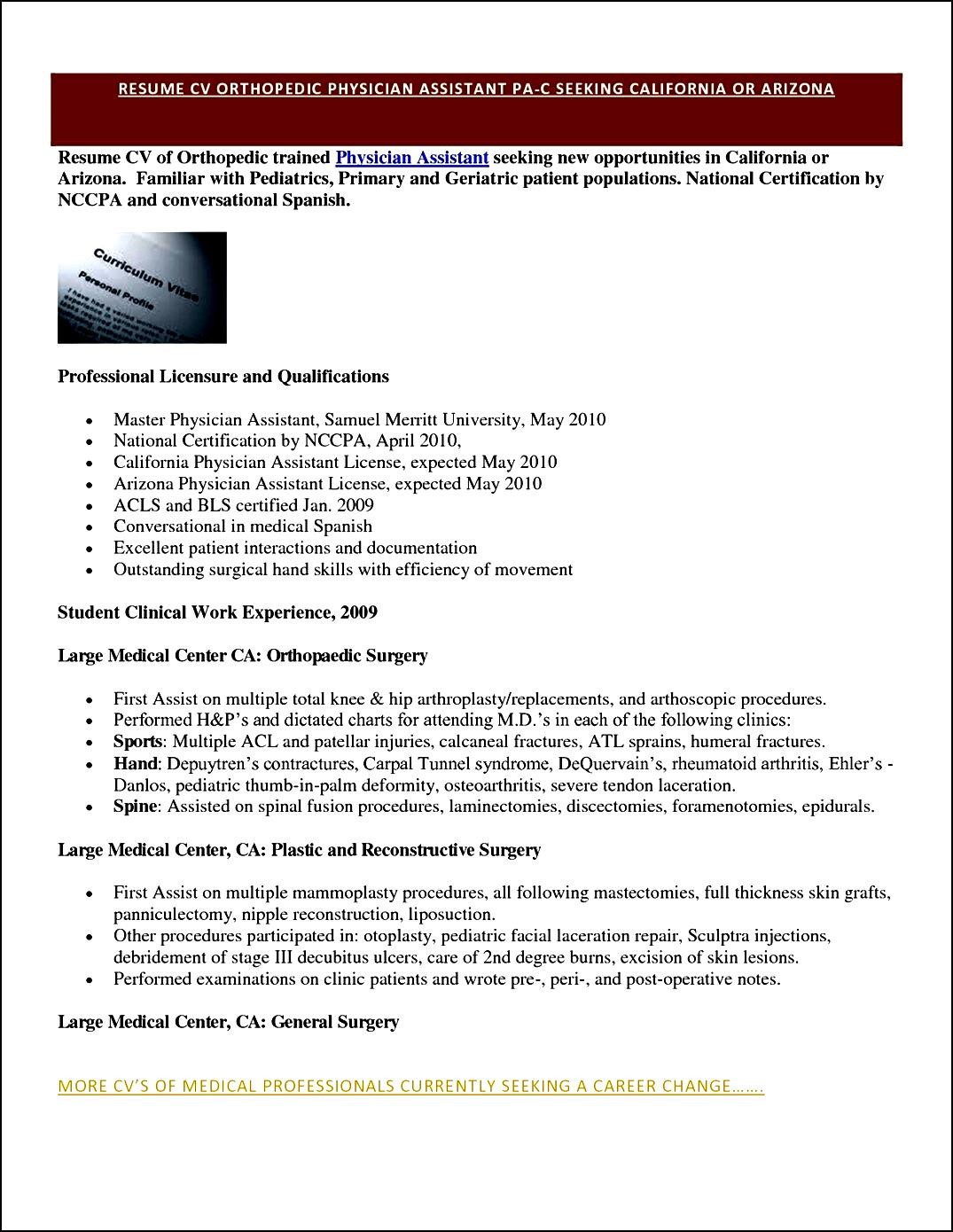 sample curriculum vitae for physicians