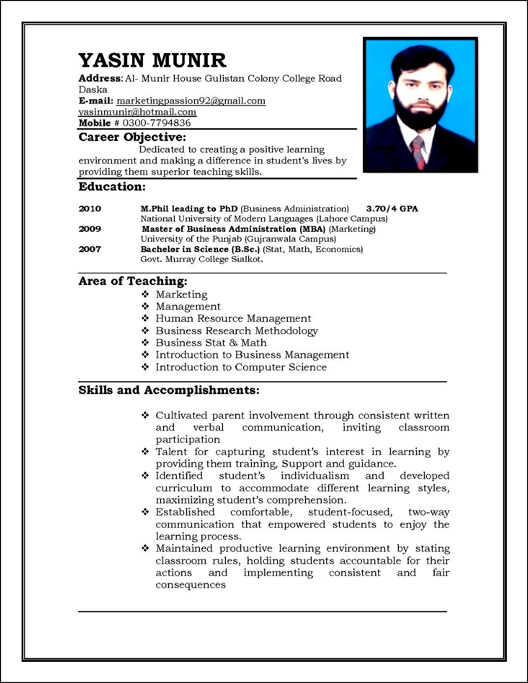 Sample-Curriculum-Vitae-For-Teachers Sample Curriculum Vitae Format Professor on download free, professors academic professional, current type, best dentist, lhv base, standard bou,
