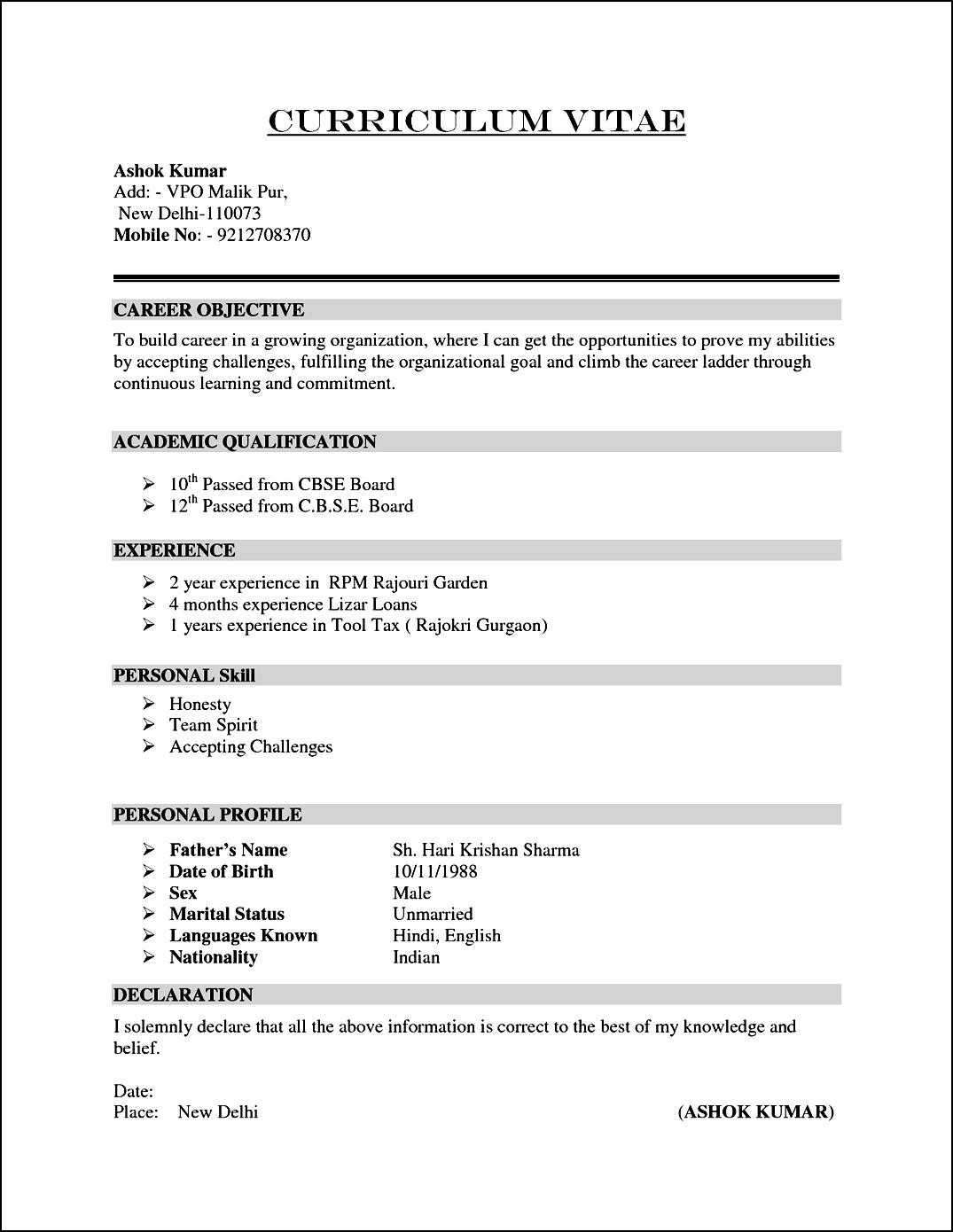 Sample Curriculum Vitae Format Free Samples Examples