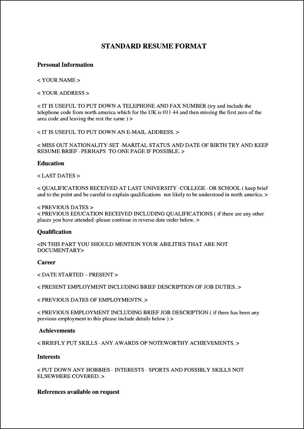 Standard Curriculum Vitae Format Free Samples Examples