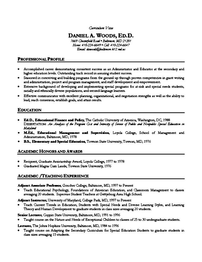 Academic Resume Example | Free Samples , Examples & Format Resume ...