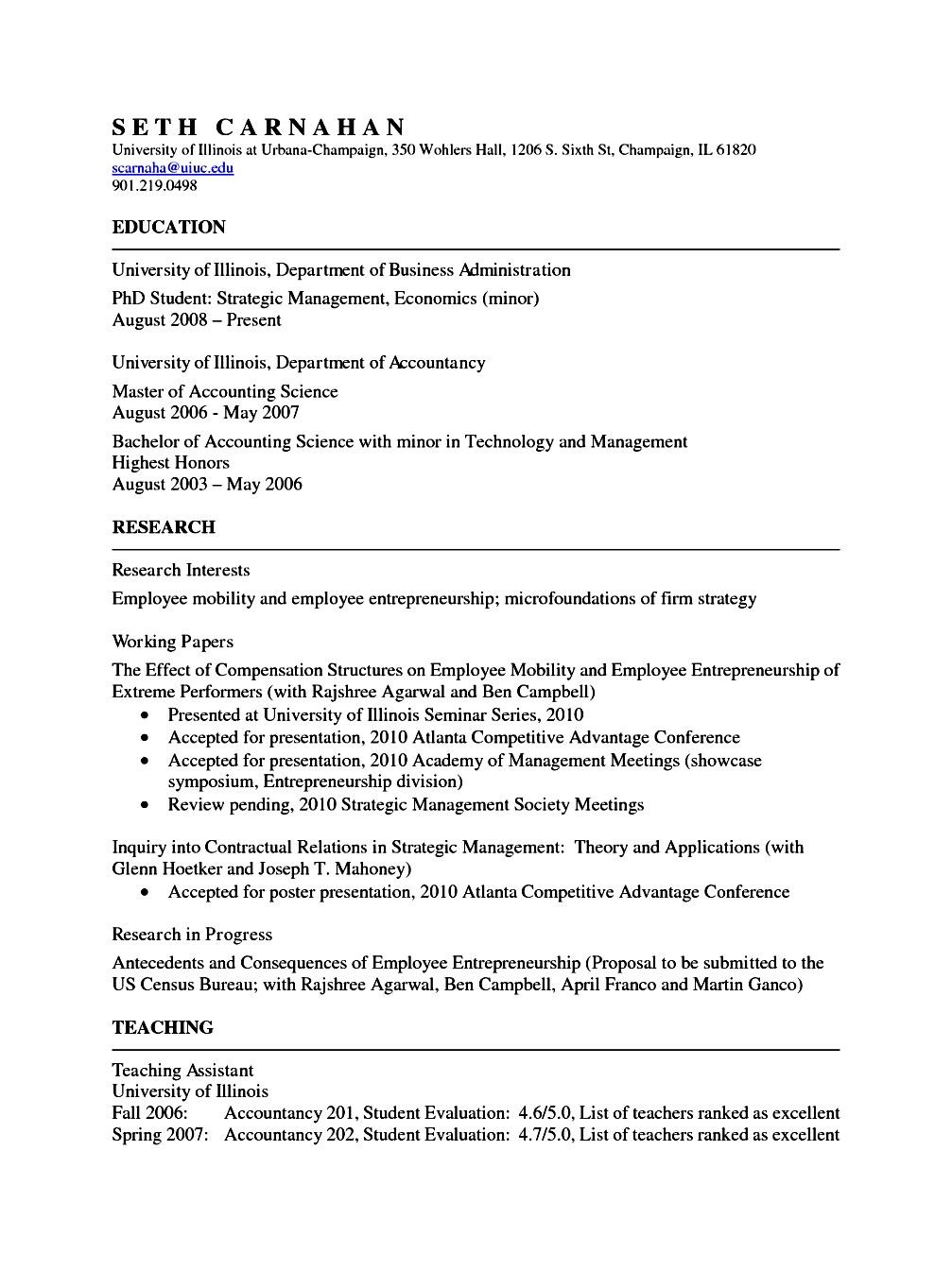 Academic resume format