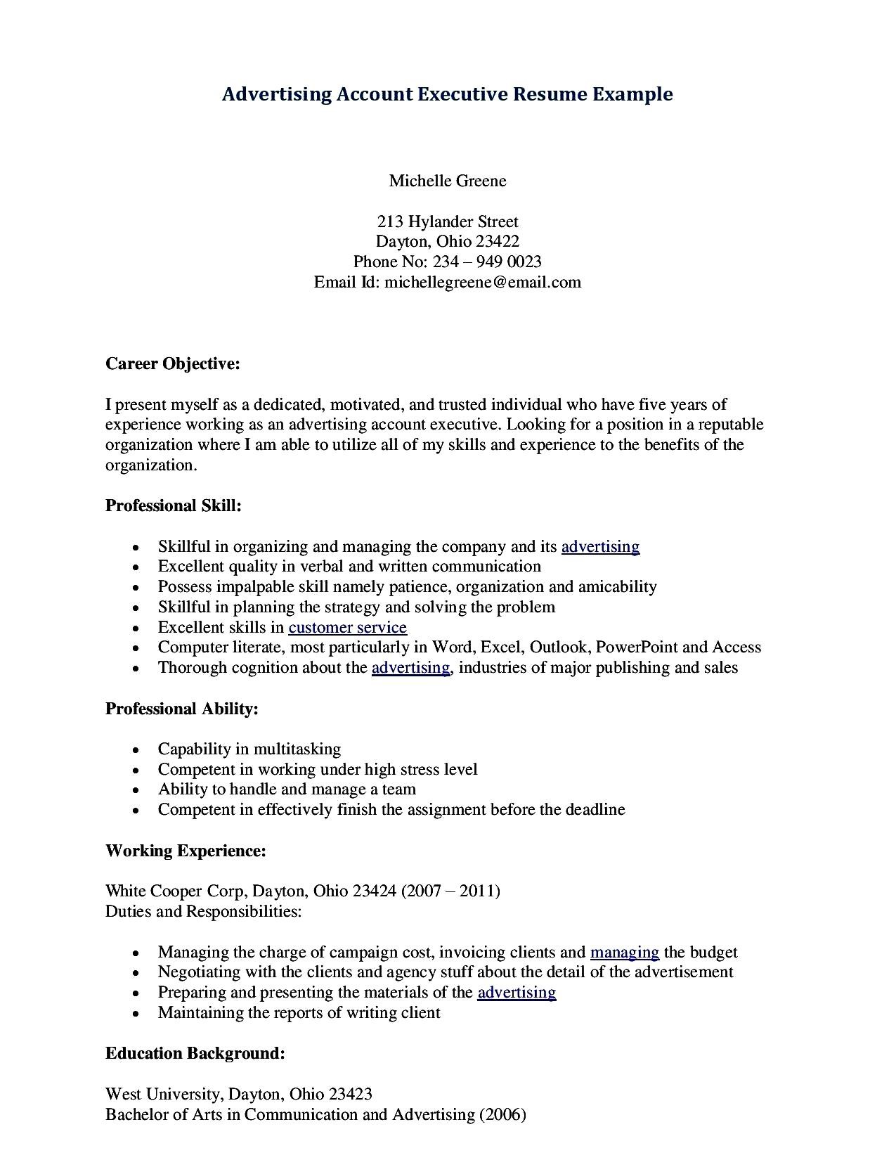 Account Executive Resume Format  Account Executive Resume Examples