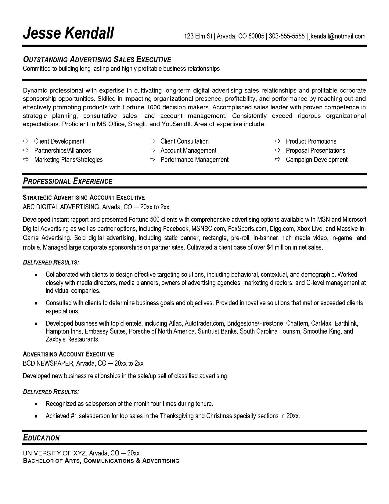account executive resume sample